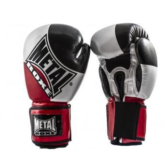 gants de boxe metal boxe super 12 oz noir blanc et rouge. Black Bedroom Furniture Sets. Home Design Ideas