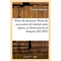 These De Doctorat Droits De Succession Ab Intestat Entre Epoux En