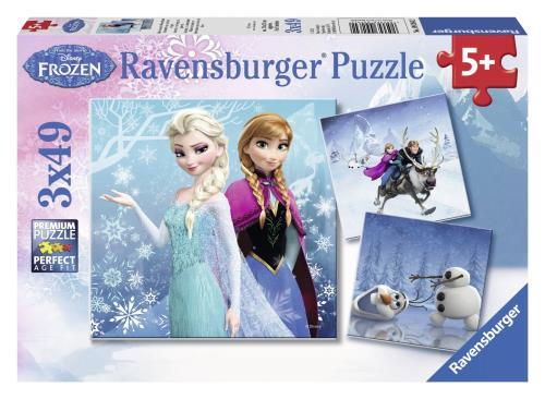 Puzzle 3 x 49p Aventures Pays Neiges Frozen La Reine des Neiges Ravensburger
