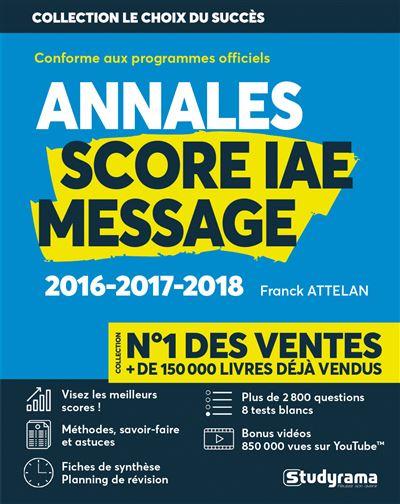 Score IAE message 3 ans d'annales corrigées
