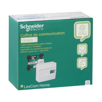 coffret de communication grade 1 schneider electric quipements lectriques pour luminaire. Black Bedroom Furniture Sets. Home Design Ideas