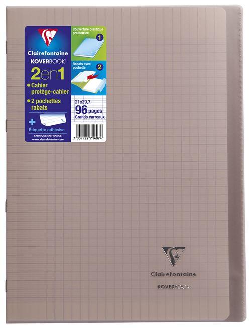 Cahier de 96 pages A4 Seyès Clairefontaine Koverbook 21 x 29,7 cm Gris