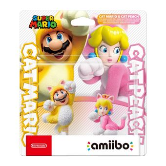 Double pack Figurines Amiibo Mario Chat et Peach Chat