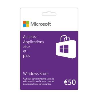 Carte Cadeau Xbox 50.Carte Cadeau Windows Store 50