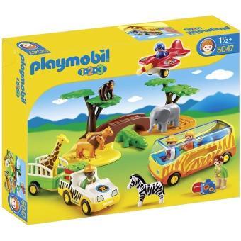 Playmobil 1 2 3 5047 coffret animaux de la savane avec gardien et touristes playmobil achat - Playmobile savane ...