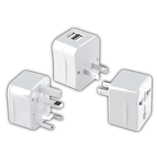 Image accompagnant le produit Adaptateur Monde 5 en 1 avec 2 ports USB Le Routard Blanc