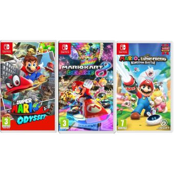 pack 3 jeux nintendo switch super mario odyssey mario kart 8 deluxe mario et les lapins. Black Bedroom Furniture Sets. Home Design Ideas