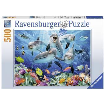 Puzzle 500 pièces Dauphins dans la barrière de corail Ravensburger