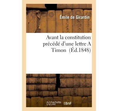 Avant la constitution  précédé d'une lettre A Timon