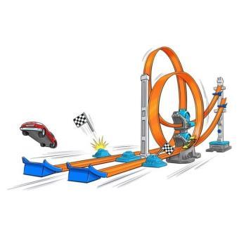 piste double super lanceur avec v hicule hot wheels circuit voitures achat prix fnac