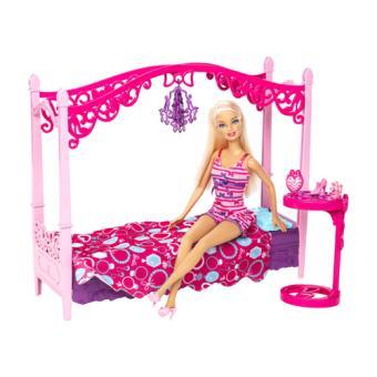 Barbie Glamour Chambre Avec Lit A Baldaquin Mattel Poupee Achat