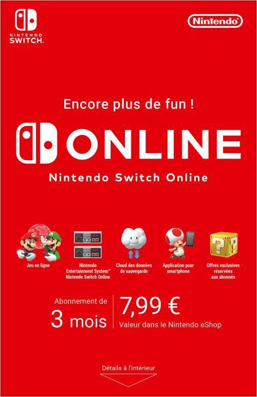 Code de téléchargement Nintendo Switch Online : 3 mois d'abonnement