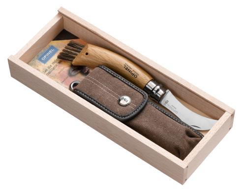Plumier avec couteau à champignons en Inox et étui Opinel N° 8 Chêne