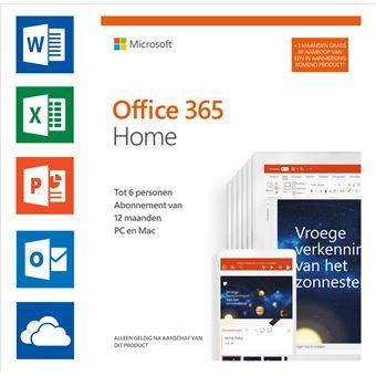 Software Microsoft Office 365 Home NL 12 + 3 maanden gratis (6 gebruikers)