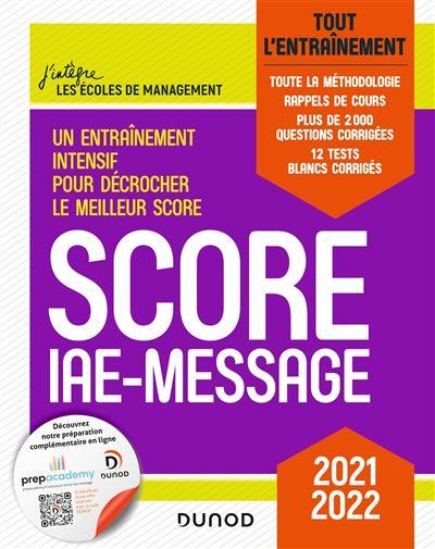 Score IAE-Message - Tout l'entraînement - 2021-2022