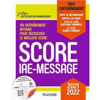 Score IAE-Message - Tout l'entraînement - 2019 - 12 tests blancs inédits - 2000 questions corrigée