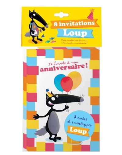 Pack 8 cartes d'invitations anniversaire Loup