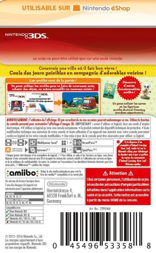 Code de téléchargement Animal Crossing New Leaf Welcome amiibo Nintendo 3DS