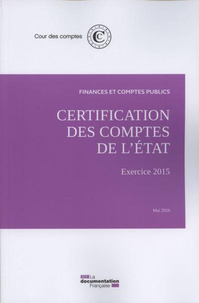 Certification des comptes de l'État, Exercice 2015