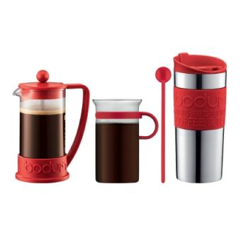 set brazil bodum avec cafeti re piston 3 tasses mug de voyage inox et verre caf rouge. Black Bedroom Furniture Sets. Home Design Ideas