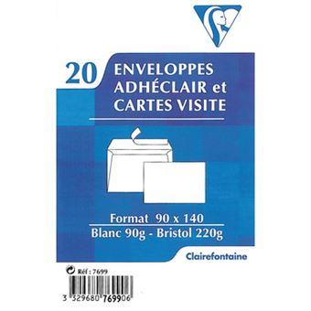 Pack De 20 Enveloppes Et Cartes Visite Clairefontaine Adheclair Blanc