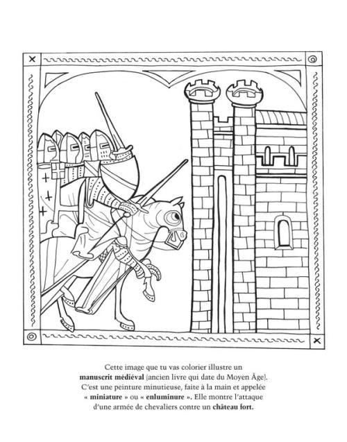 Coloriage Attaque Chateau Fort.Chevaliers Le Moyen Age A Colorier