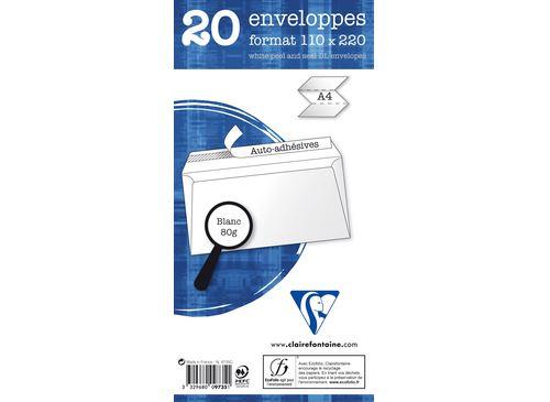 20 enveloppes autoadhésives à fenêtre Clairefontaine 110x220mm 80g