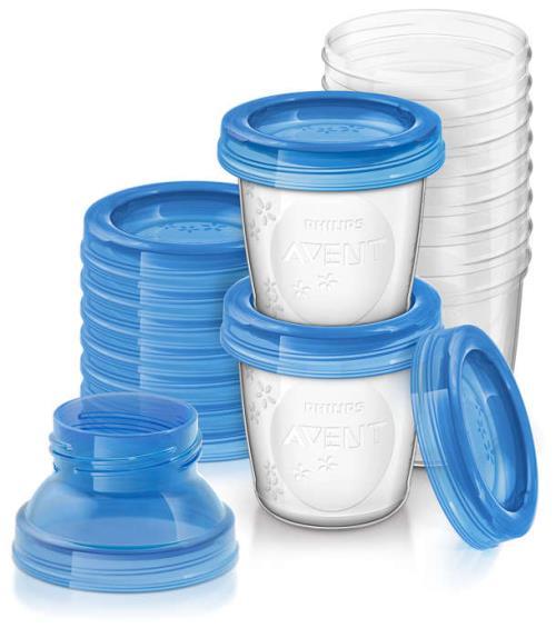 10 pots de conservation pour lait maternel Philips Avent 180ml 1 adaptateur