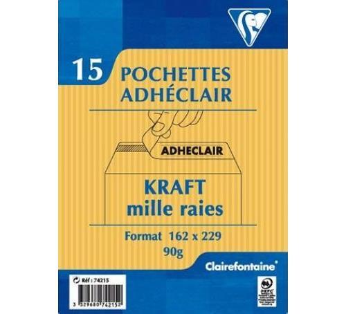 15 pochettes autoadhésives Clairefontaine 162x229mm Kraft mille raies 90g