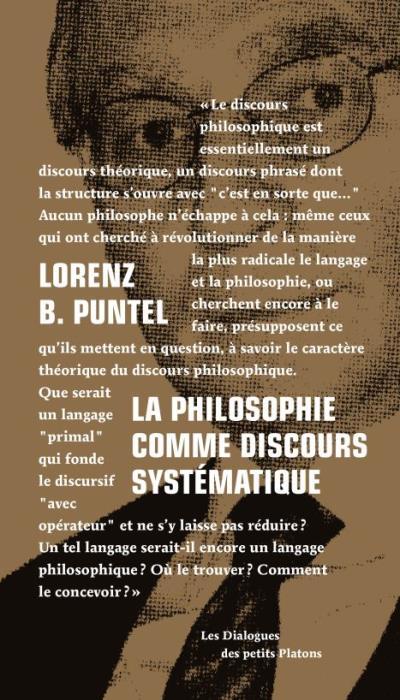 La philosophie comme discours systématique