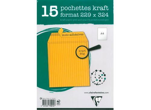 15 pochettes autoadhésives Clairefontaine 229x324mm Kraft mille raies 90g
