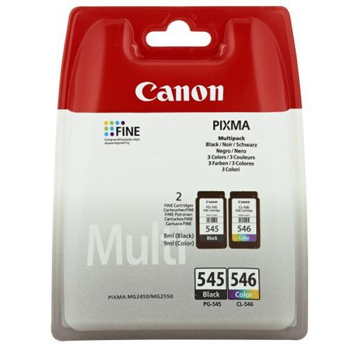 Cartouches d'encre Canon Pixma PG-545 Noire + CL-546...