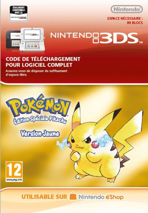 Code de téléchargement Pokémon Edition Spéciale Pikachu Version Jaune Nintendo 3DS