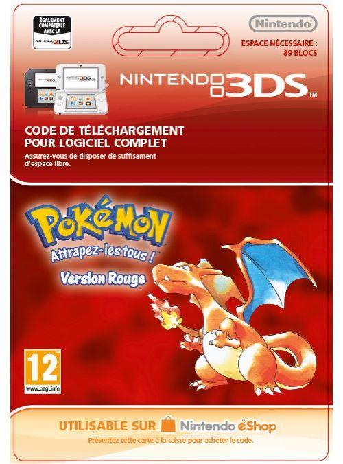 Code de téléchargement Pokémon Attrapez-les tous ! Version Rouge Nintendo 3DS