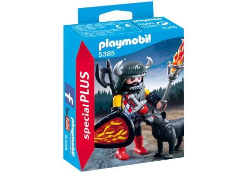 Le guerrier et son loup son prêts à défier les ennemis. Contient : 1 personnage, 1 torche, 1 casque, 1 épée, 1 hallebarde et 1 bouclier.