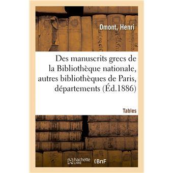 Inventaire sommaire des manuscrits grecs de la Bibliothèque nationale