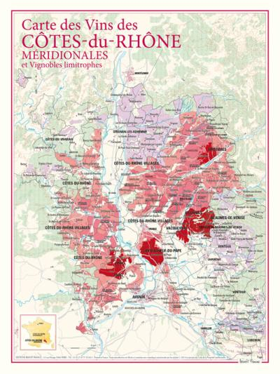 Carte des vins des Côtes-du-Rhône méridionales et vignobles limitrophes