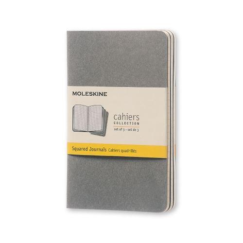 Cahier quadrillé - Format de poche - Couverture souple en carton gris clair