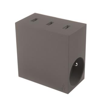 Multiprise Usbepower Hide + 3 USB et 2 Prises Taupe
