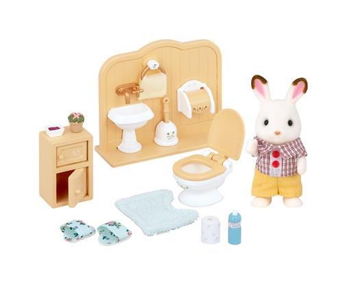 Figurine Sylvanian Families Frère Lapin Chocolat toilettes et toilettes