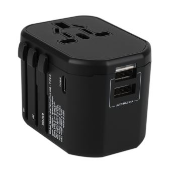 B2B Economic Worldwide Travel Charger Adapter + 2X USB Black