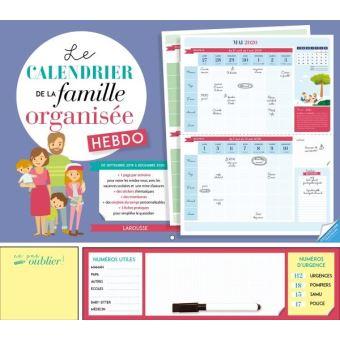 Calendrier A Cocher.Le Calendrier De La Famille Organisee Hebdo 2020