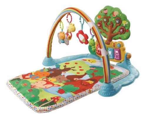 Jardin enchanté des P'tits copains - 0 - 36 mois  Un tapis joliment illustré à découvrir avec des surprises à manipuler.  Avec un piano interactif détachable pour découvrir les formes, les couleurs et les animaux, un bouton tambour et deux petits hochets