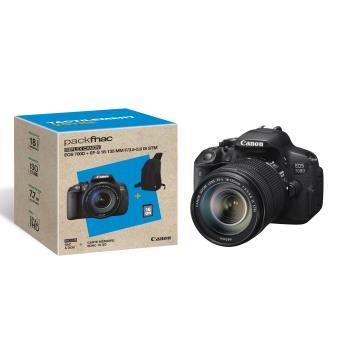 Pack Fnac Reflex Canon EOS 700D + Obj. Canon EF-S IS STM 18 - 135 mm f/3.5 - 5.6 + Sac à dos + SDHC 16Go