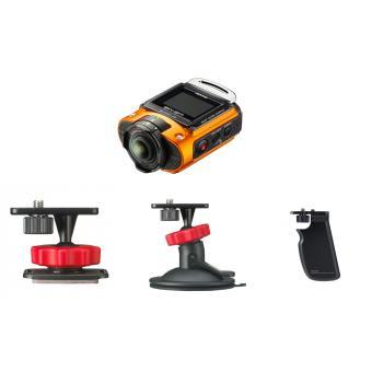 Ricoh WG-M2 Actiion Camera Oranje + O-CM1471 Plat Houder + O-CM1473 Zuignap Houder + O-MA1531 Handgreep