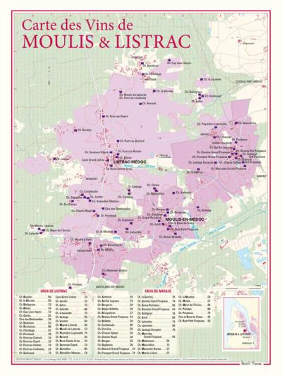 Cartes des vins de Moulis et Listrac