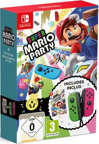 Super Mario Party Nintendo Switch + Joy-Con Vert-Rose