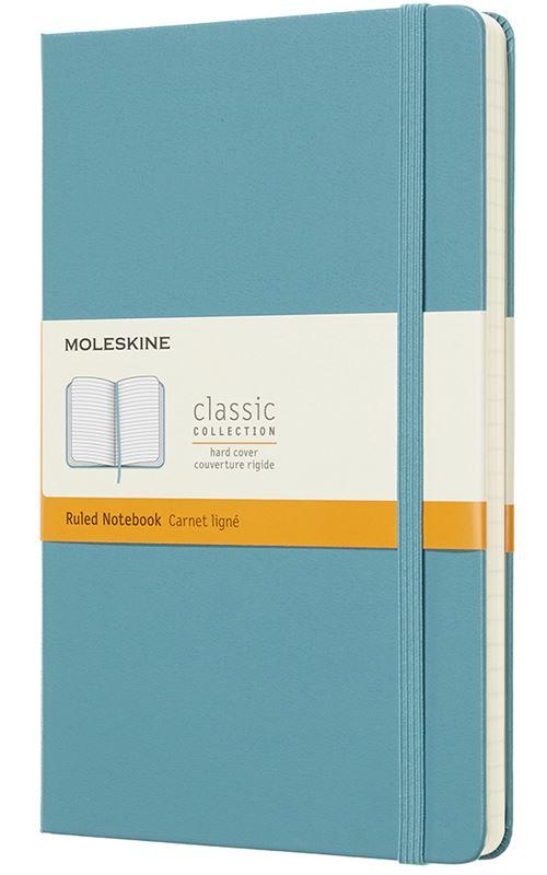 Carnet ligné Moleskine Grand format rigide Bleu lagon
