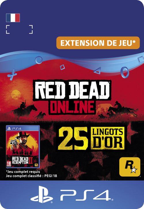 Code de téléchargement Red Dead Online 25 Lingots d?Or PS4