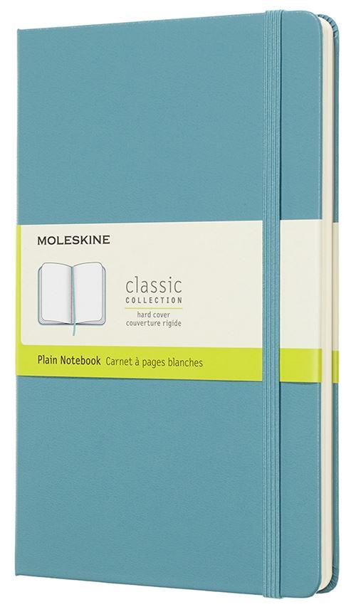 Carnet à pages blanches Moleskine Grand format rigide Bleu lagon